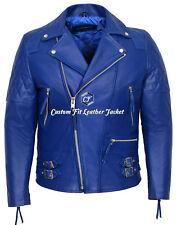 Men's Leather Jacket Blue Washed 100% REAL COWHIDE Biker Style Jacket 233