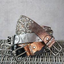 ♥ Damen Gürtel mit echtem Leder Nieten Strass Sterne 3,8 cm kürzbar *G5