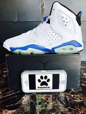 "Nike Air Jordan 6 Retro ""Sport Blue"" White 384665-107 GS Size 4.5Y-5.5Y"