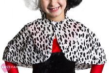 CHILDS Terciopelo Dálmata impresión Cape Libro Semana Fancy Dress película carácter Disfraz