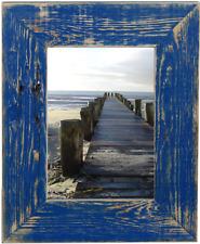 Bilderrahmen aus echtem Alt-Holz im Landhaus-Stil vintage, rustikal - marineblau