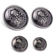10x Zinc Antique Skull Crossbones Round Shank Buttons Sewing Craft Embellishment