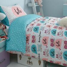 KITTY POLKA DOT DOUBLE DUVET COVER SET CHILDRENS BEDDING CATS NEW