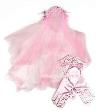 FLOWER GIRL Pink Wedding Veil Mask with Lacing Rosette Headband For Child Bridal