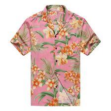 Made in Hawaii Men Aloha Hawaiian Shirt Orange Floral with Green Leaf in Pink