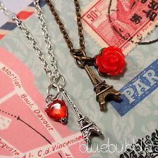 Estilo Vintage Pequeño Mini Torre Eiffel, Collar Love Paris Shabby Chic Valentine