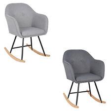 1 X Chaise à bascule pieds en acier Fauteuil à bascule assise en lin f261