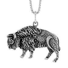 "Sterling Silver Bull Pendant / Charm, 18"" Italian Box Chain"