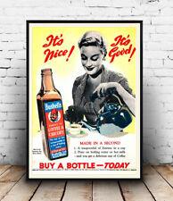 Bushells Coffee, Vintage magazine advertising Reproduction poster, Wall art.