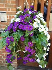 Artificial Hanging Basket Purple & White Flowers Ivy Leaf Fern Foliage Plant