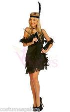 OP 122 Ladies Costume Fancy Dress 1920s Black Flapper Gangster Size 6-18