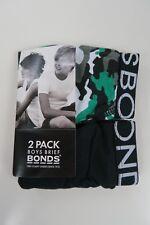 Bonds Boys Kids 2 Pack Cotton Briefs Underwear sizes 6 8 10 12 14 16 Black Print