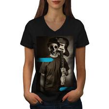 Bass Guitar Skull Music Women V-Neck T-shirt NEW | Wellcoda