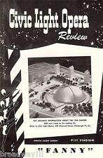 "Harold Rome ""FANNY"" Florence Henderson / Joshua Logan 1957 Pittsburgh Playbill"