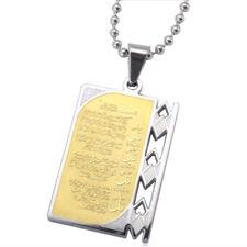 Engraved Allah 4 Qul Surahs Muslim Islam Arabic Quran Scripture Pendant Necklace