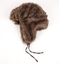 New Brown Womens Girls Black Poppy Trapper Faux Fur Ear Flap Ski Snowboard Hat