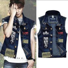 Men Cool Patch Denim Vest Jean Waistcoat Sleeveless Vintage Punk Casual Jacket
