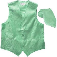 New Men's Formal Vest Tuxedo Waistcoat_necktie paisley aqua green prom wedding