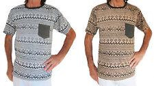 100% Algodón Gris O Marrón Con Negro ZIG-ZAG rayas hombre camiseta, talla M o L