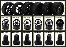 1/10 en carretera Touring coche a la deriva Nitro 4 Ruedas & Neumáticos Neumáticos Set Brillante Negro