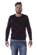 Maglione Daniele Alessandrini Sweater -60% Scacco Uomo Bordeaux FM91633605-1423
