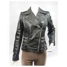 Ladies Black Napa Leather Stud Zip Slim Tight Fitted Short Biker Jacket Bike