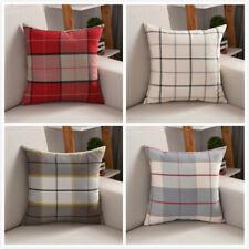 Checked Linen Pillow Case Throw Cushion Cover Bed Sofa Pillowcase Home Adornment