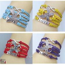 Bracelet papillon amour Amitié Antique En Cuir Charme