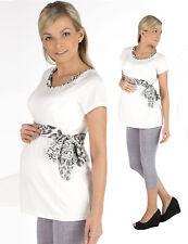 Chemise de maternité longue T-shirt grossesse manches courtes haut tunique