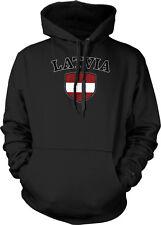 Latvia Flag Crest Latvian Latvija Soccer Football Sports Pride Hoodie Pullover