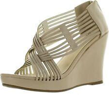 DIVIANA KEALIE-36 Womens Criss Cross Cut Out Platform Back Zip Wedge Sandals