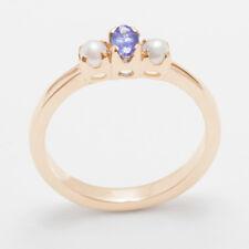 9ct Rose Gold Natural Tanzanite & Full Pearl Womens Trilogy Ring - Sizes J to Z
