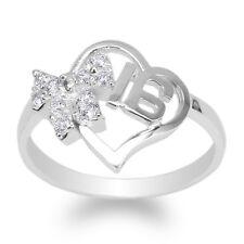 JamesJenny Womens White Gold Plated Ribbon Heart Shaped Sweet 16 Ring Size 4-9