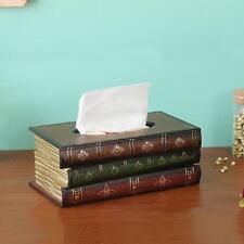 Novel Wooden Tissue Box Paper Cover Case Retro Style Book Shape Napkin Holder