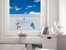 Sichschutzfolie Fensterfolie farbig für Kinderzimmer Spruch Pirateninsel Hai