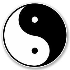 2 x Cinese Yin Yang Adesivo Vinile Portatile da Viaggio Bagaglio #4396