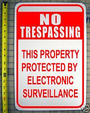 "NO TRESPASSING ELECTRONIC SURVEILLANCE SIGN 12""X18"" ALUMINUM style c"