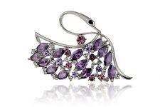 Janeo Swan Brooch Pin Swarovski Crystals Elements Christmas Anniversary Gift Her
