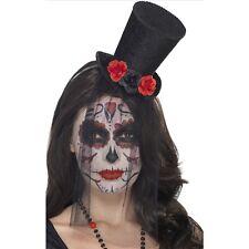 Day of the Dead Hat Black Mini Top Hat Black Roses Dia de los Muertos Costume