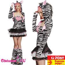 Ladies Zebra Costume Safari Animal Jungle Zoo Party Book Week Womens Fancy Dress