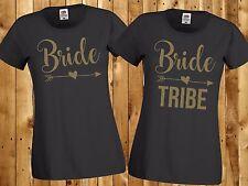 BRIDE / BRIDE TRIBE T-SHIRTS - HEN PARTY HOLIDAY BRIDESMAID WEDDING PERSONALISED