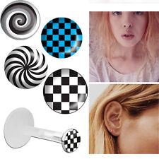Bio Flex Tragus Piercing 16g 3mm Flat Push Top w/ Logos Earring Black/White Set