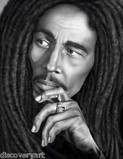 Bob Marley Portrait Stretched Canvas Wall Art Poster Print Rasta Music Legend