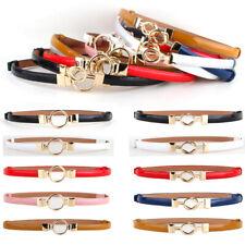 Women Ladies Fashion Golden Clasp Buckle Belt Jeans Dress Skinny Waistband NEW