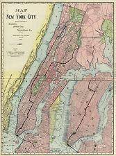 1903 Map New York City Railroad Subway Wall Art Poster Print Vintage History