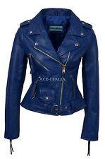 Ladies Leather Jacket BLUE Biker Motorcycle Style BRANDO REAL HIDE JACKET MBF