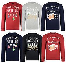 Christmas Jumper Novelty Crew Neck Sweatshirt Funny Xmas Booze Sleigh Beer Sweat