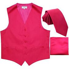"New formal Men's slim fit Tuxedo Vest_2.5"" Skinny Necktie & hankie hot pink"