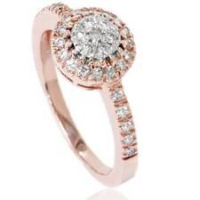 1/2ct Halo Cluster Diamond Ring 14K Rose Gold