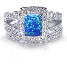 Oro Blanco Corte Esmeralda Azul Ópalo de Fuego Compromiso Boda Plata Cz